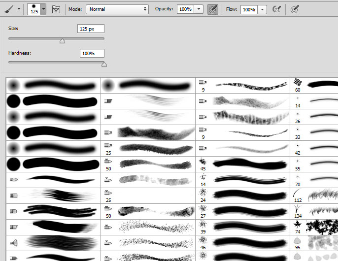 Photoshop CS6 settings tips: turn on brush stroke thumbnails to see what a brush will actually look like when it's used.