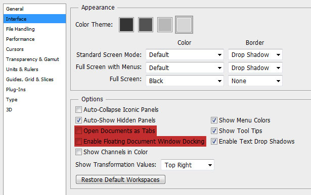 Photoshop CS6 settings tips: Turn off those annoying tabs and docking.