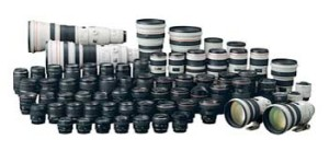 DSLR advantage: tons of lenses! This giant collection of lenses is by Canon.